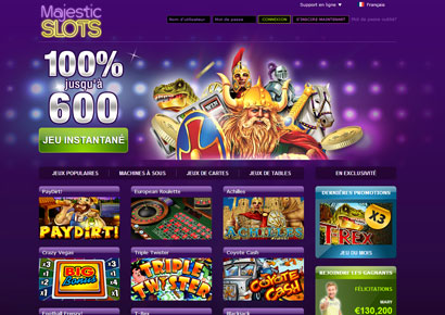 majestic slots page d'accueil